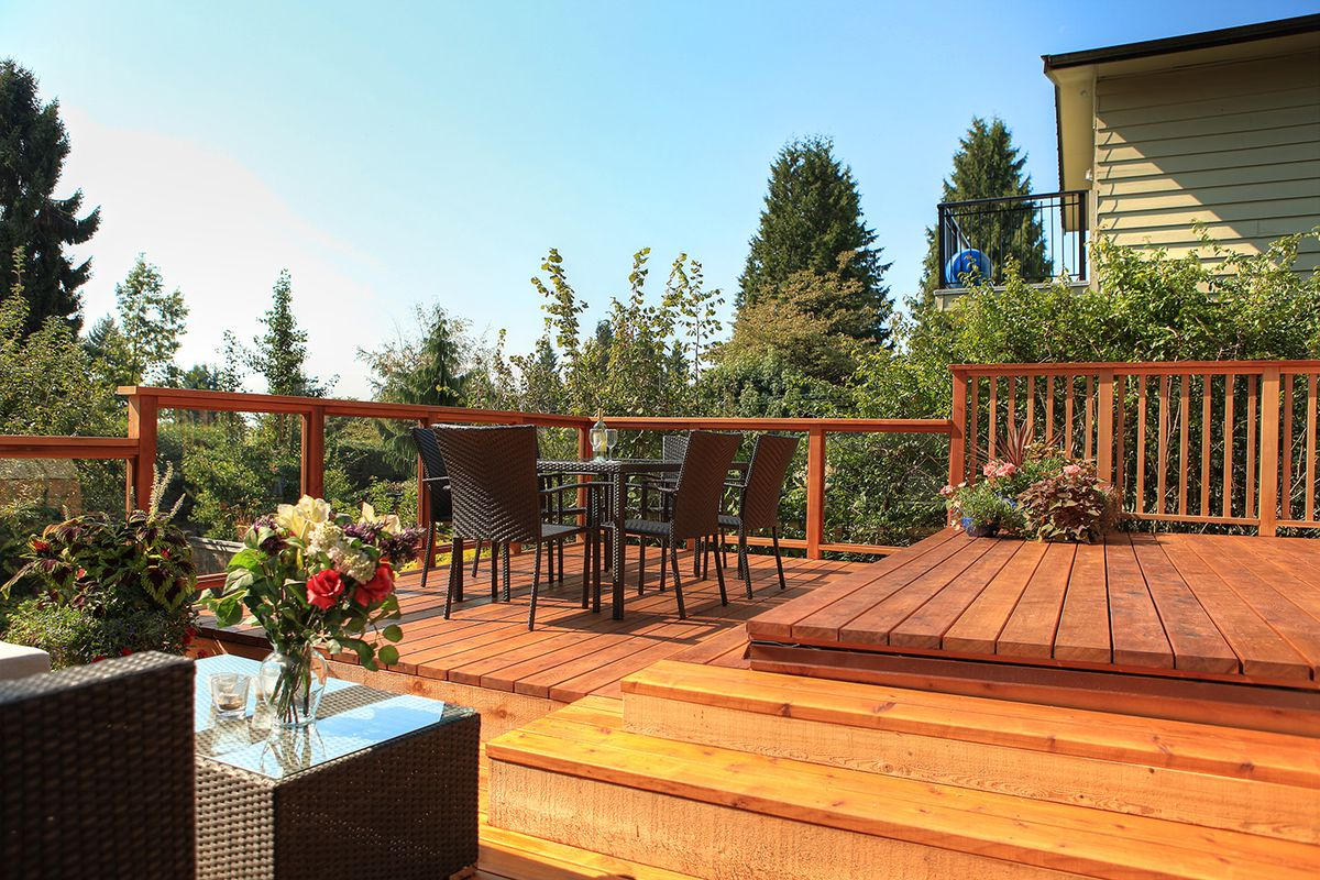 Cedar Deck Surrounded By Lush Green Vegetation