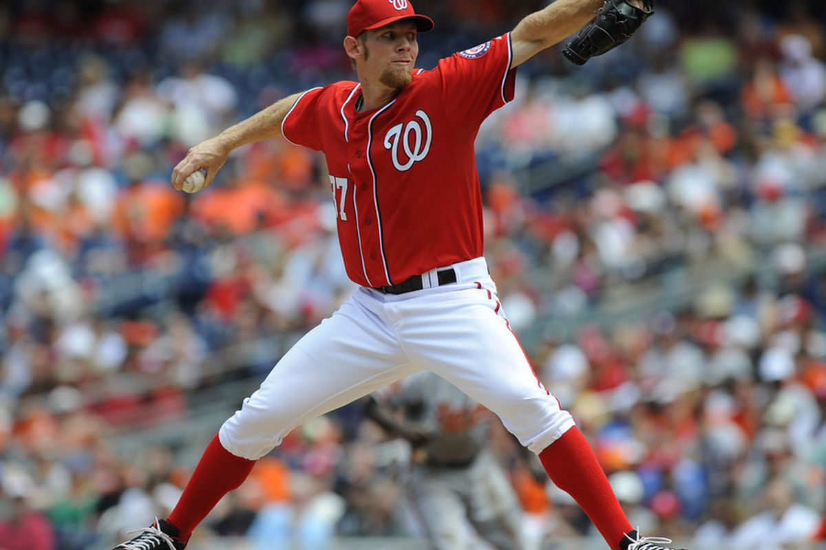 May 20, 2012; Washington, DC, USA; Washington Nationals starting pitcher Stephen Strasburg (37) throws in the first inning against the Baltimore Orioles at Nationals Park. Mandatory Credit: Brad Mills-US PRESSWIRE