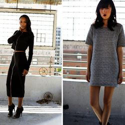 """Looks by Bellen Brand (left) and Stella Proseyn; photos by Paolo Fortades. Bellen Brand co-founder Alexandria Norman says the Made-in-the-U.S. basics line is inspired by the """"girl [who] loves hip-hop, bu understands jazz."""" Stella Proseyn designer Debbie T"""