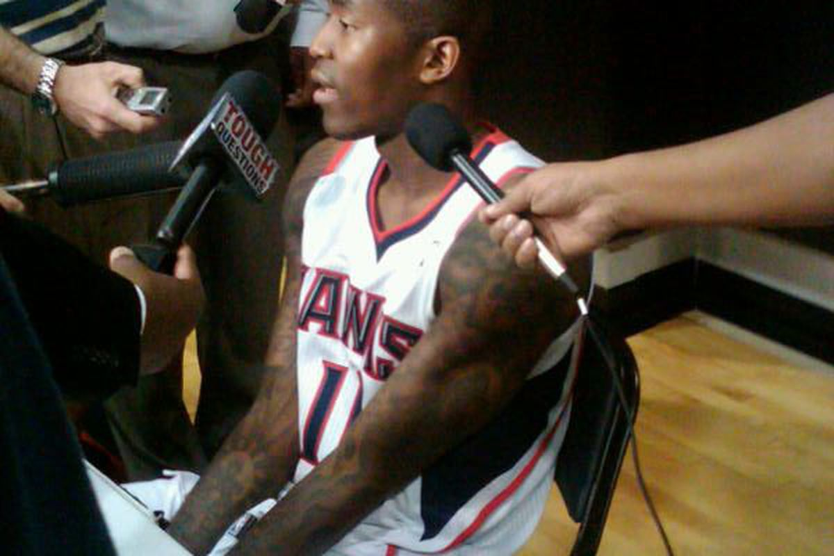 Jamal Crawford talks to reporters during Hawks Media Day.