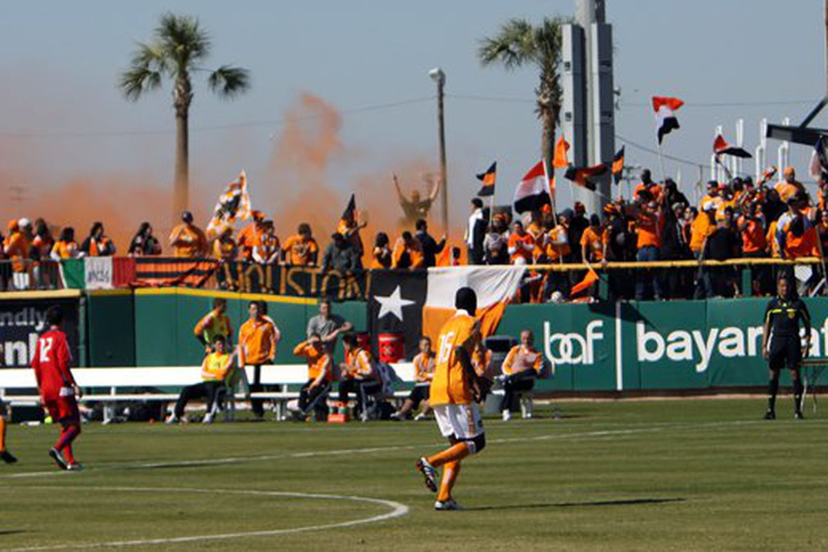 The Houston Dynamo started the MLS portion of their preseason with a physical, high-scoring start, defeating FC Dallas 4-0 in the South Texas Shootout in Corpus Christi, Texas.