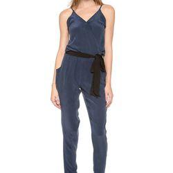 "Piper Gore silk navy jumpsuit with elastic waist, $396 at <a href=""http://www.shopbop.com/shot-thru-heart-jumpsuit-piper/vp/v=1/1547090543.htm?folderID=19841&s_kwcid=PTC%7Cpla%7C%7C%7C52857091965%7Cg%7C%7C30404029937&extid=SE_froogle_SC_usa-PIPER300065177"