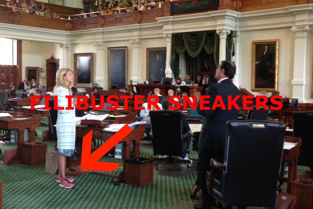 "Photo via <a href=""http://trailblazersblog.dallasnews.com/2013/06/wendy-davis-begins-filibuster-to-stop-omnibus-abortion-bill.html/"">Dallas News Trailblazer's blog</a>"