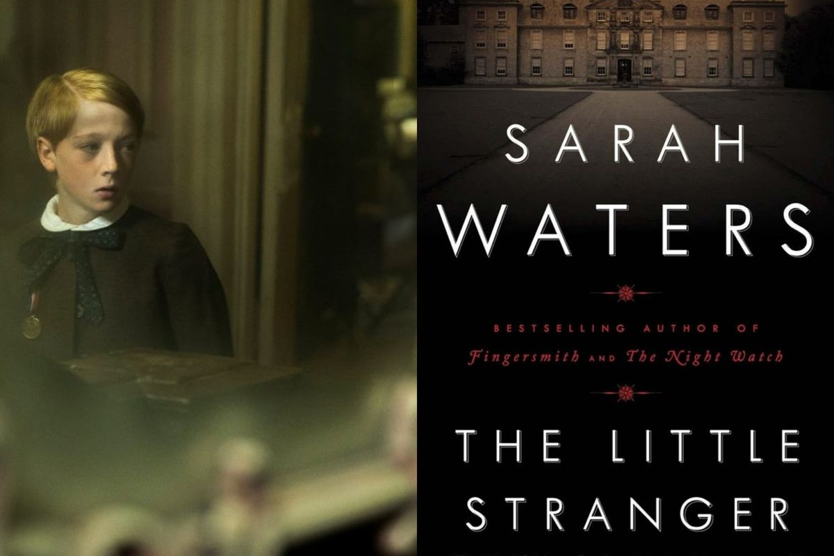 A scene from The Little Stranger and the cover of Sarah Waters's novel