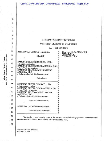 Apple vs. Samsung: the jury's final verdict form shows the breadth ...