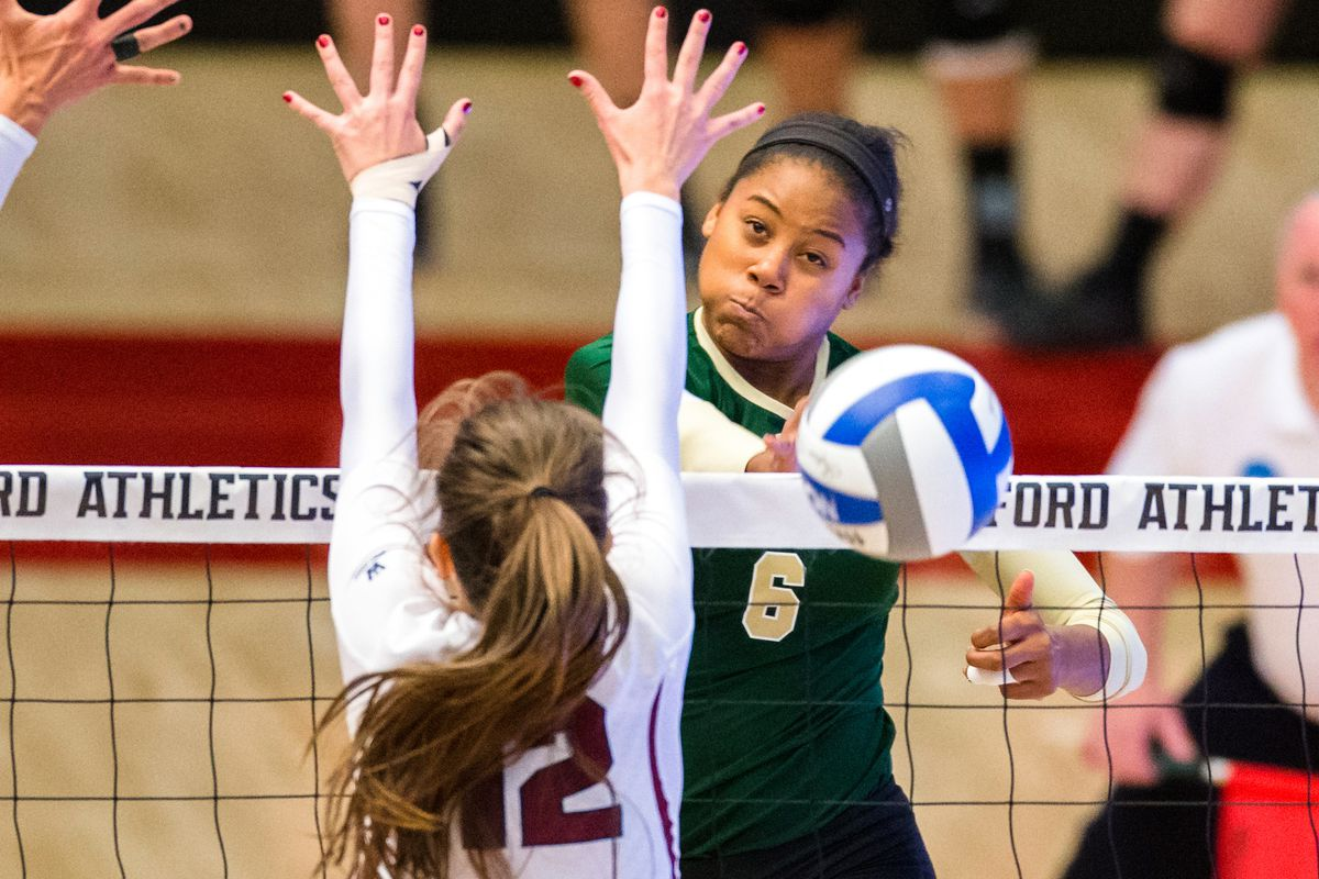 This is actually a photo of Stanford getting upset by Loyola-Marymount. Tough to find VB photos.