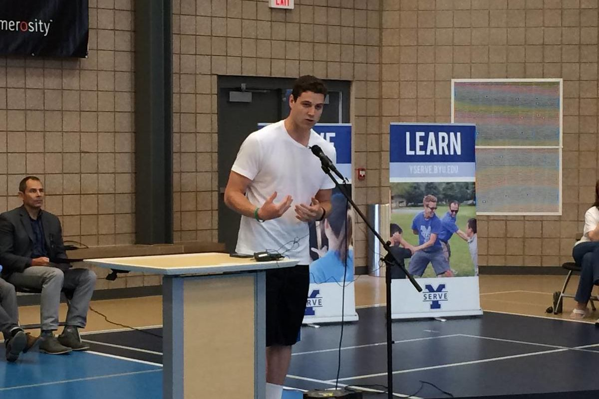 BYU standout and NBA free agent Jimmer Fredette speaks during the fourth annual Jimmerosity Basketball Camp in Provo on Wednesday, July 9, 2014.