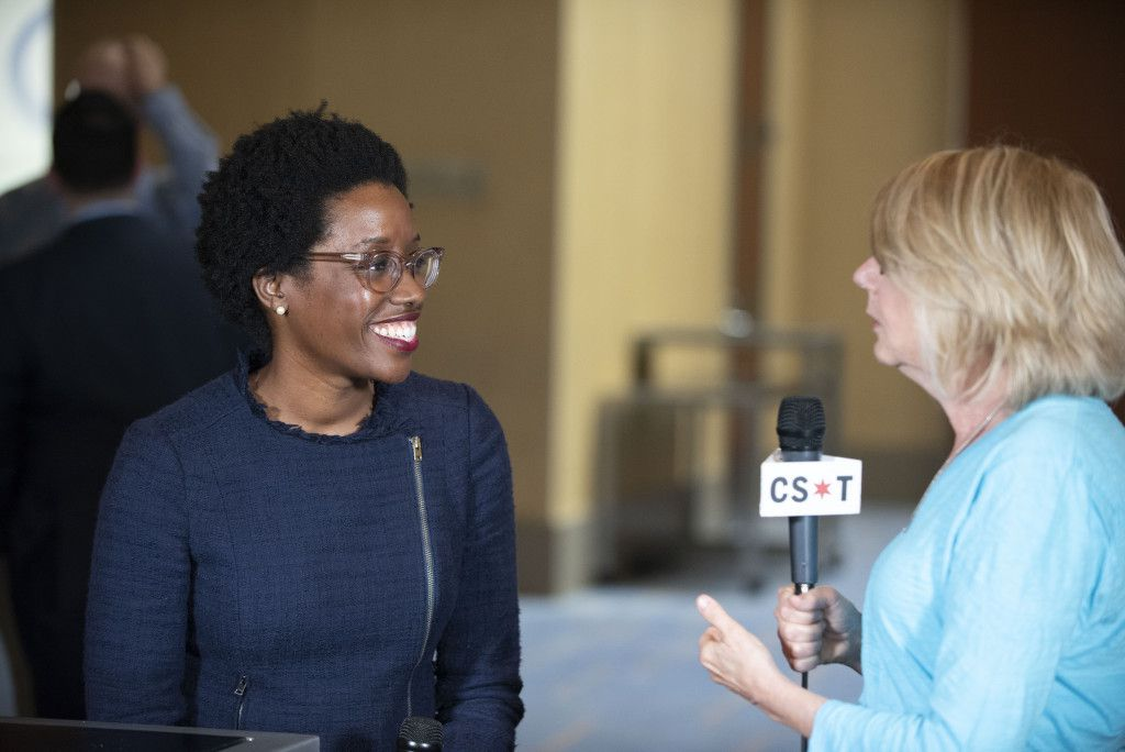 Lauren Underwood, 14th dist. Democratic nominee, speaks with Sun-Times Washington Bureau Chief Lynn Sweet at the Democratic National Committee summer meeting in Chicago on August 24, 2018. | Colin Boyle/Sun-Times