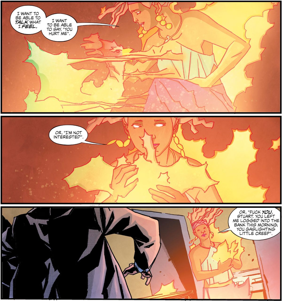 Djuna, wreathed in fire, embraces the cockatrice creature who embodies her anger, and decides she's not going to take it anymore, in House of Whispers #14, DC Comics (2019).