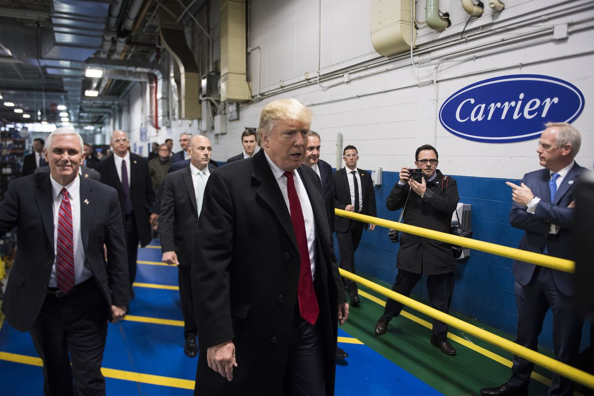 Donald Trump and Mike Pence at a Carrier plant in Indianapolis, Indiana.