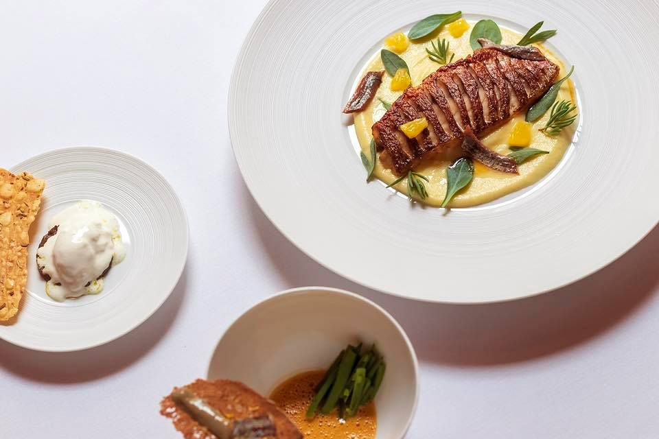 London has a new three-Michelin-starred restaurant: Here, Cornish red mullet, anchovy, and sardineat Sketch's Lecture Room and Library