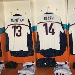 USMNT jerseys in the Hersheypark Stadium locker room
