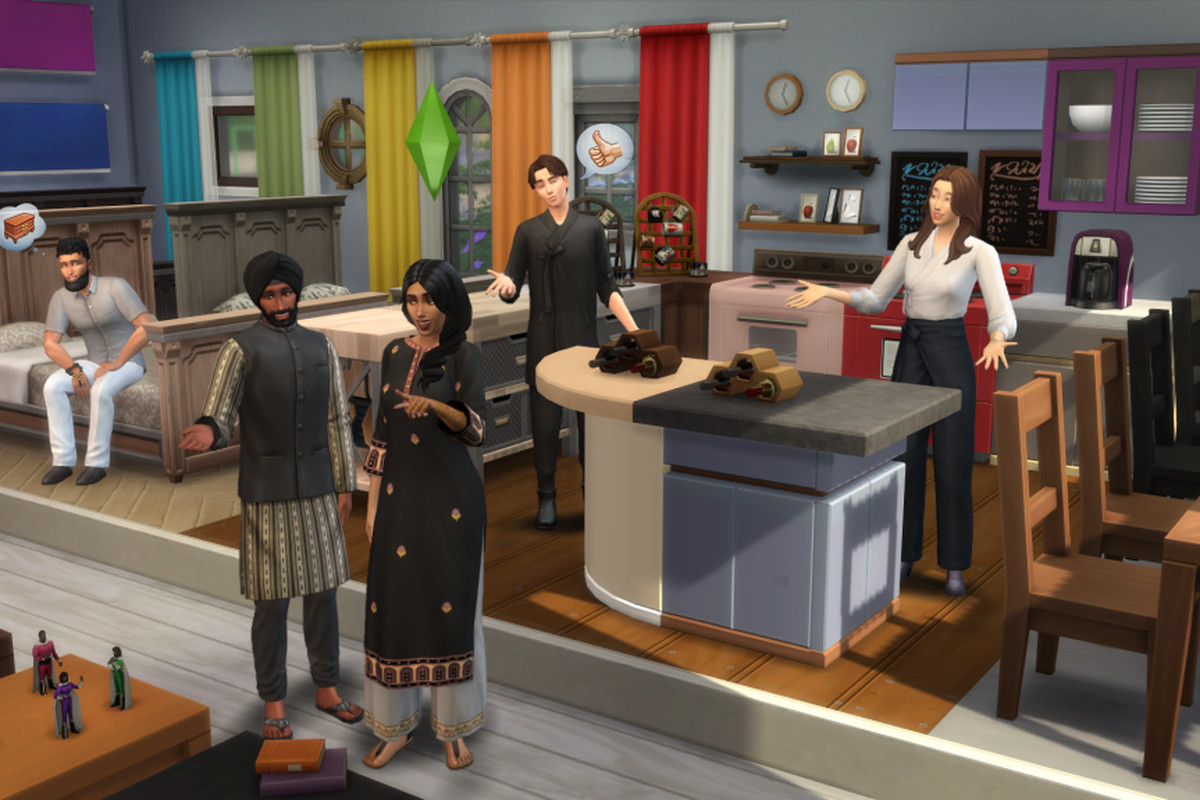 a group of sims in a colorful room with lots of furniture