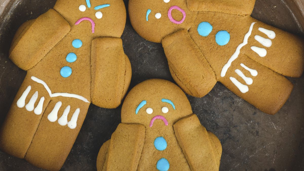 Three angry-looking gingerbread men.