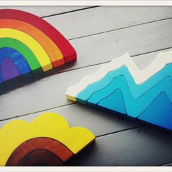 children's stackers (or decorative object) - rainbow, sunflower, iceberg // $20-30