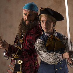 """Michael Elich, left, as Long John Silver and Sceri Sioux Ivers as Jim Hawkins star in the Utah Shakespeare Festival's 2017 production of """"Treasure Island."""""""
