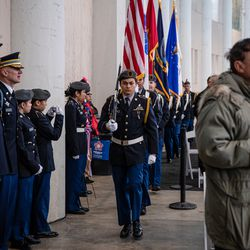 JROTC Chicago Public Schools Cadets Presentation of Colors during the Veteran's Day ceremony at Soldier Field on Monday, Nov. 11, 2019.