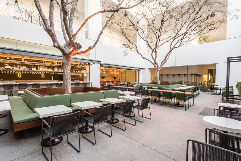 Restaurant patio at Audrey inside the Hammer Museum in Westwood