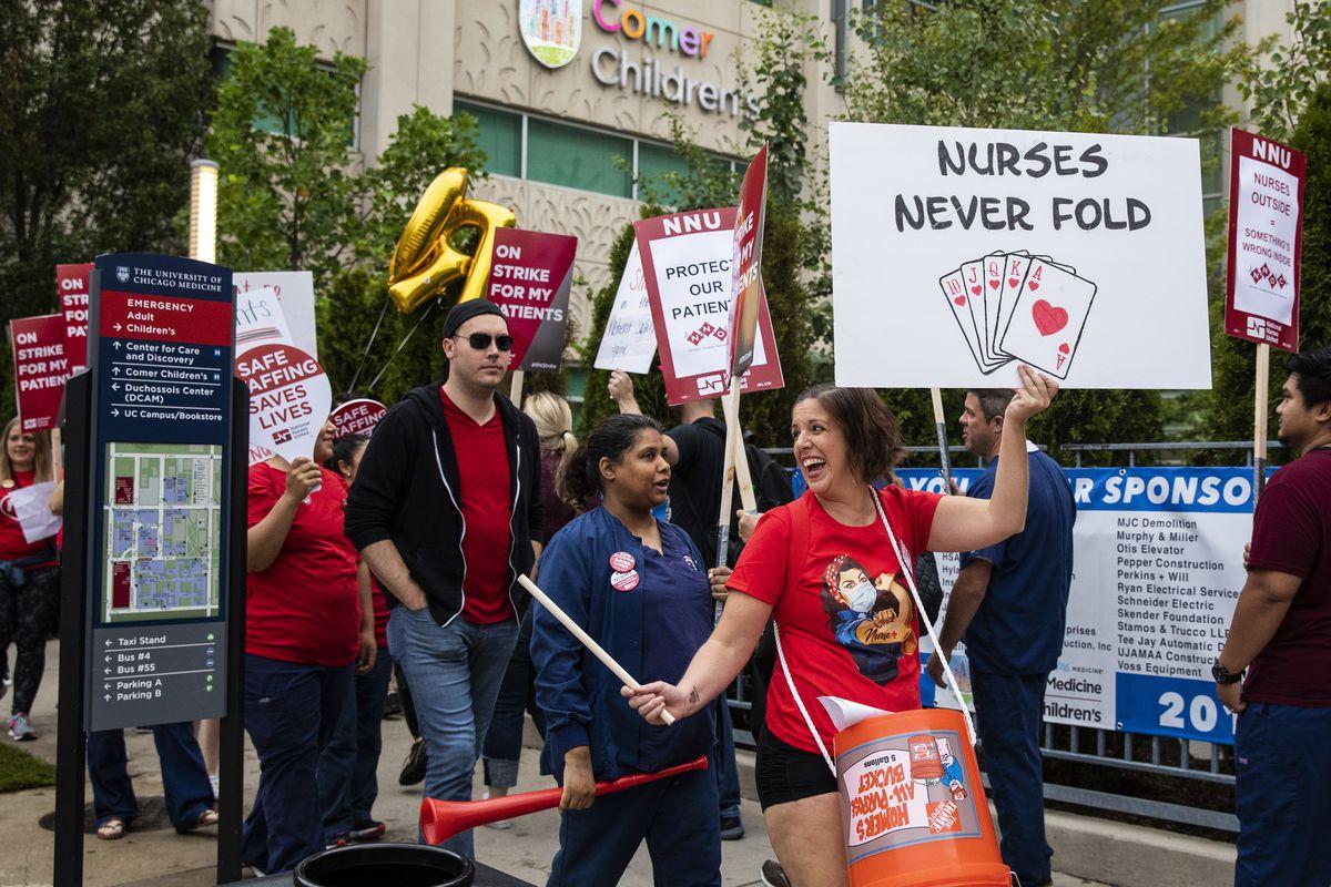Striking nurses rally outside the University of Chicago Medical Center in September.