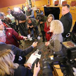 Mayor-elect Jackie Biskupski speaks to the media after the Salt Lake City Council, acting as the city's board of canvassers, certified final election results Tuesday, Nov. 17, 2015, at the City-County Building. Biskupski defeated Mayor Ralph Becker by 1,194 votes — 51.55 percent to 48.45 percent — with more than 38,000 votes cast.