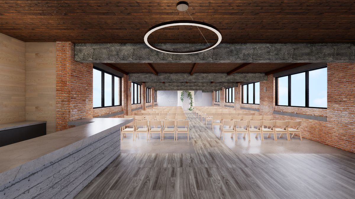 A computer rendering of an event space set up for a wedding with empty white chairs.