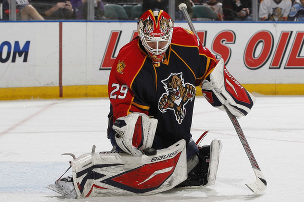 SUNRISE FL - FEBRUARY 16: Goaltender Tomas Vokoun #29 of the Florida Panthers makes a glove save on a shot by the Philadelphia Flyers on February 16 2011 at the BankAtlantic Center in Sunrise Florida. (Photo by Joel Auerbach/Getty Images)