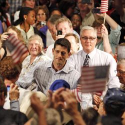 Republican vice presidential candidate, Congressman Paul Ryan, R-Wis., arrives for a campaign rally at Christopher Newport University in Newport News, Va., Tuesday, Sept. 18, 2012.