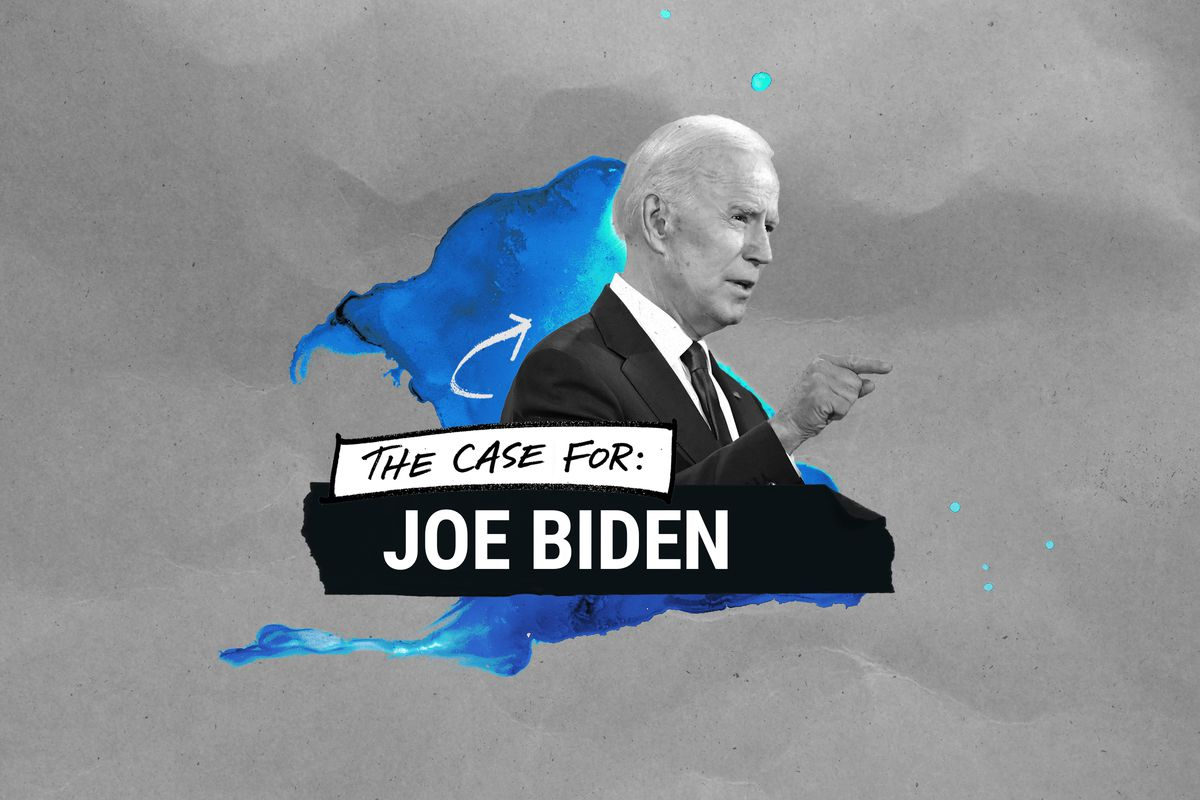 "An illustration saying ""The case for Joe Biden"""