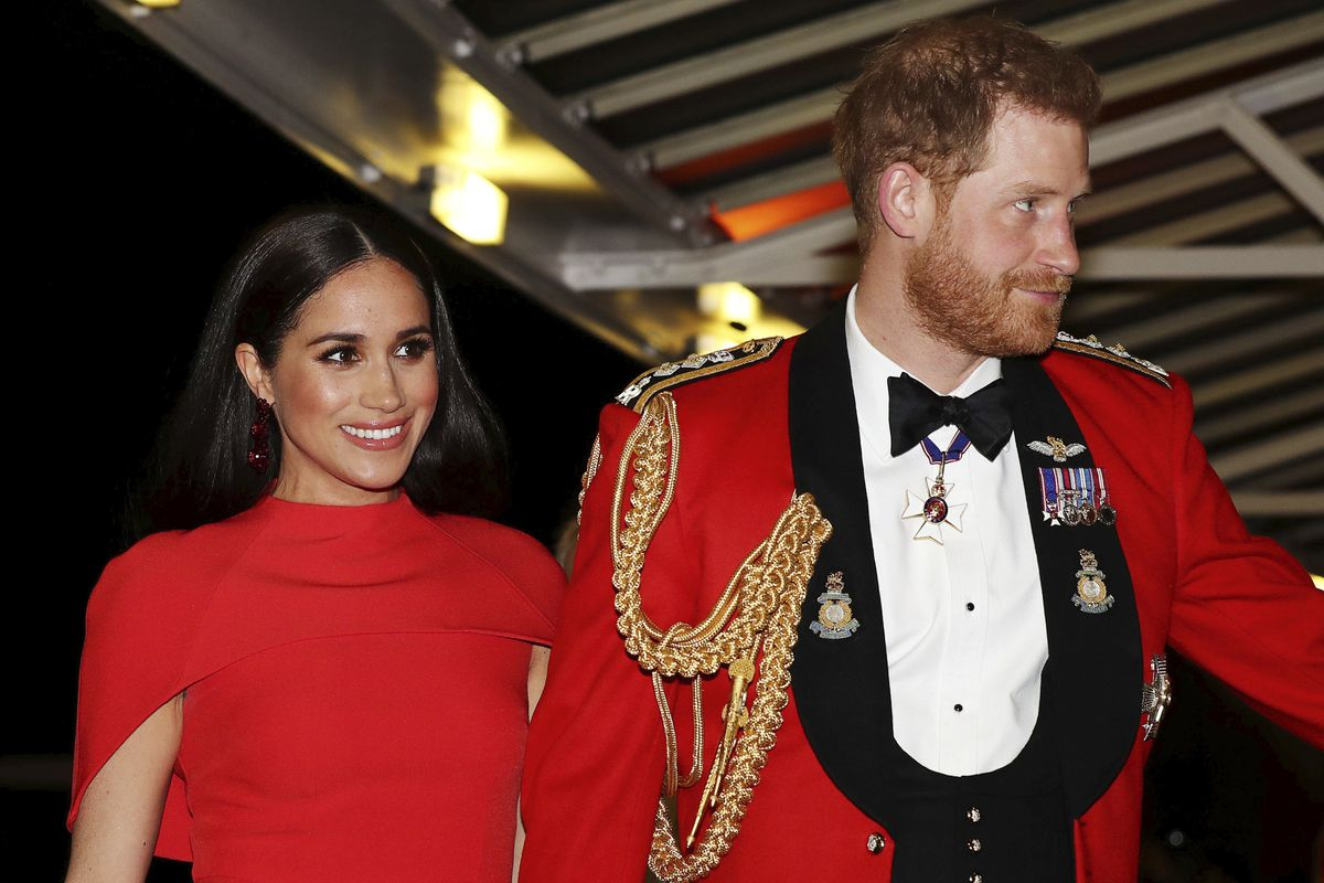 Britain's Prince Harry and Meghan, Duchess of Sussex, arrive at the Royal Albert Hall in London earlier this month.