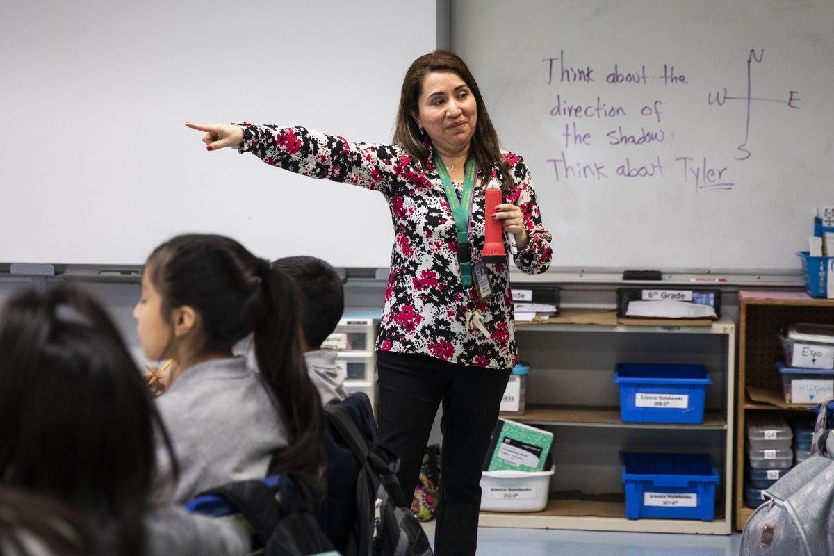 Oralia Villanueva teaches a fifth-grade science class at Little Village Academy, 2620 S. Lawndale Ave.
