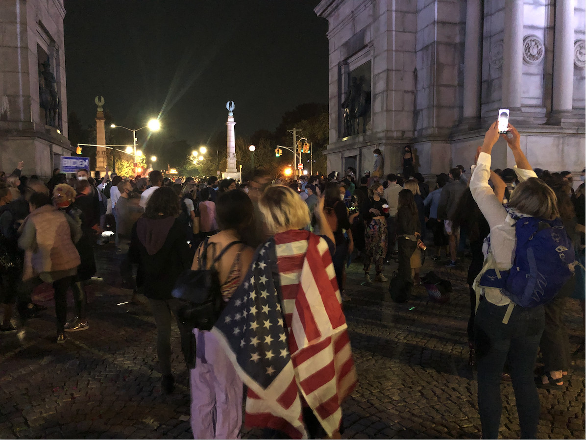 Grand Army Plaza Biden celebration