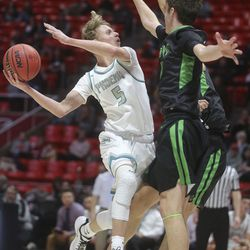 Farmington's Collin Chandler shoots during the 5A boys basketball state quarterfinals against Provo at the Huntsman Center in Salt Lake City on Tuesday, Feb. 25, 2020. Farmington won 78-76 in overtime.