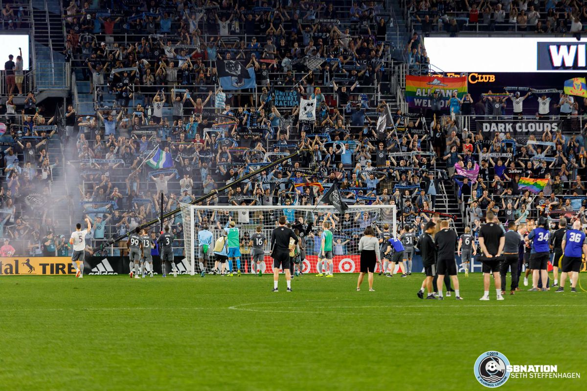 August 14, 2019 - Saint Paul, Minnesota, United States - Minnesota United line up in front of The Wonderwall to celebrate winning 1-0 over the Colorado Rapids at Allianz Field.