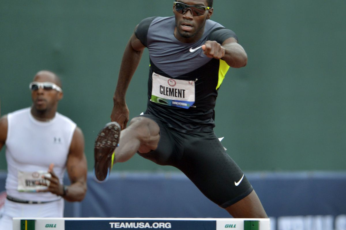 Jun 29, 2012; Eugene, OR, USA; Kerron Clement runs 49.04 in a 400m hurdles semifinal to advance during the 2012 U.S. Olympic Team Trials at Hayward Field. Mandatory Credit: Kirby Lee/Image of Sport-US PRESSWIRE