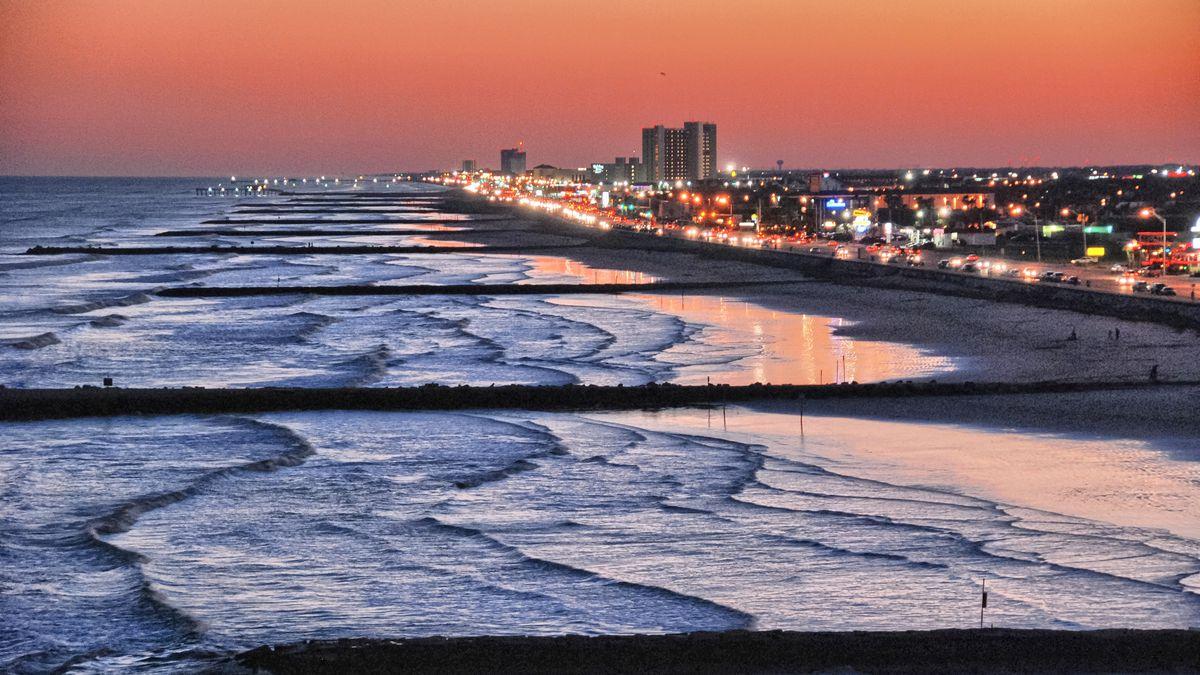 Galveston Island at sunset