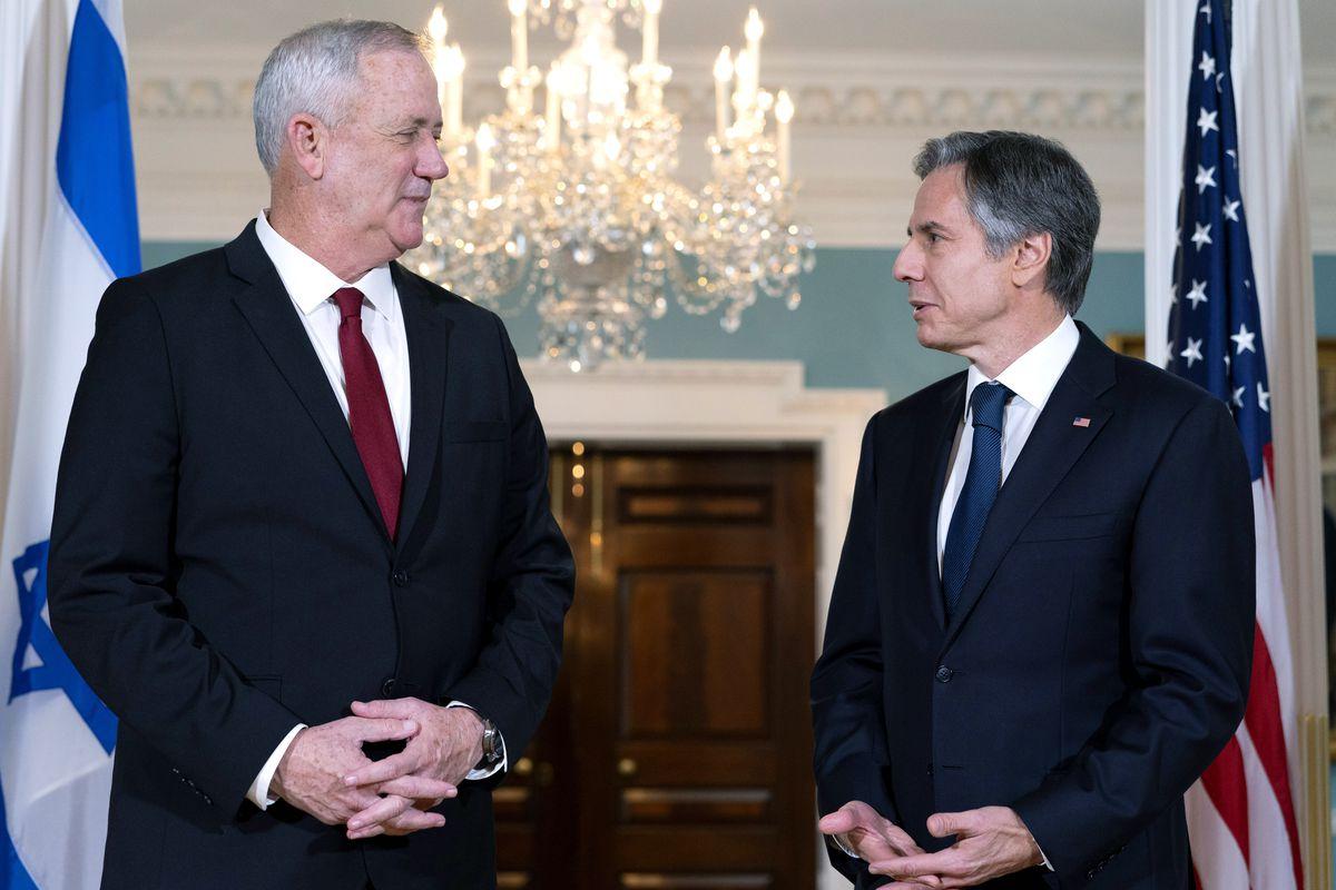 Secretary of State Antony Blinken, right, meets with Israel's Defense Minister Benny Gantz, Thursday, June 3, 2021, at the State Department in Washington.