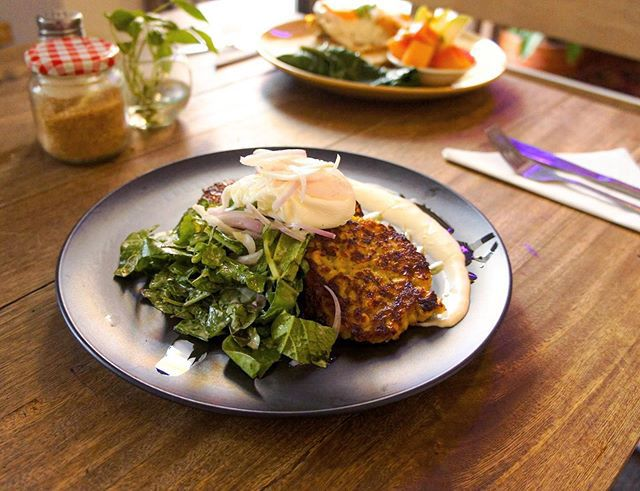 A pile of dressed greens sits on a plate beside a series of fritters beneath a poached egg with a creamy white sauce spread on the plate around the items, sitting on a wood table beside tableware, another blurred out dish, and condiments