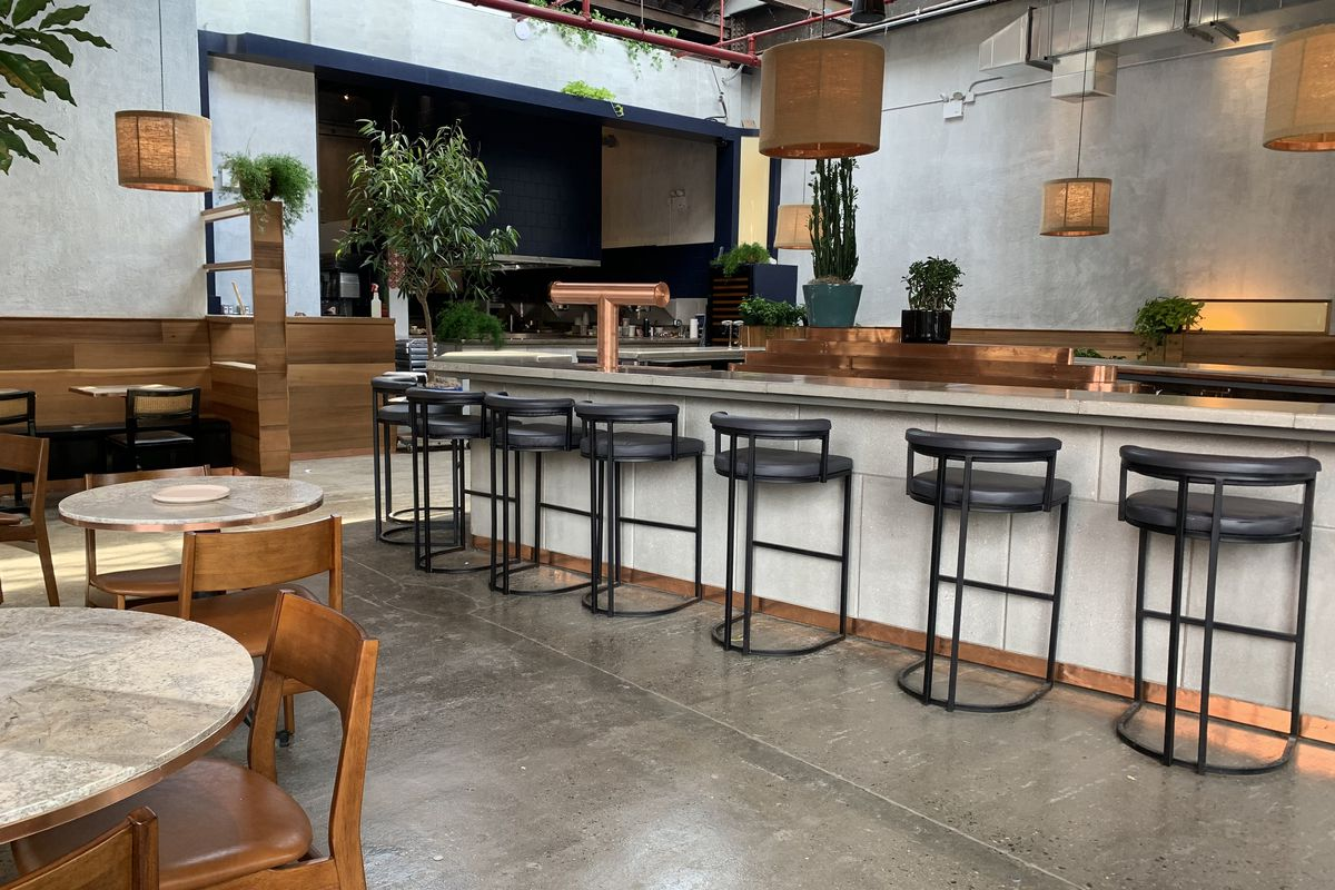 A high-ceilinged, industrial dining room with grey bar stools pulled up to a counter, hanging light fixtures, and plants strewn throughout the space