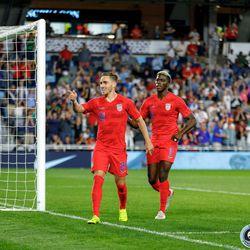 June 18, 2019 - Saint Paul, Minnesota, United States - USA forward Tyler Boyd (21) celebrates after scoring a goal during the USA vs Guyana match at Allianz Field.