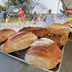 Volker's bread for sale at the Wheeler Historic Farm farmers market in Murray on Sunday, July 25, 2021.
