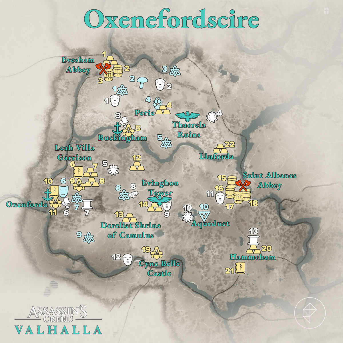 Oxenefordscire Wealth, Mysteries, and Artifacts locations map