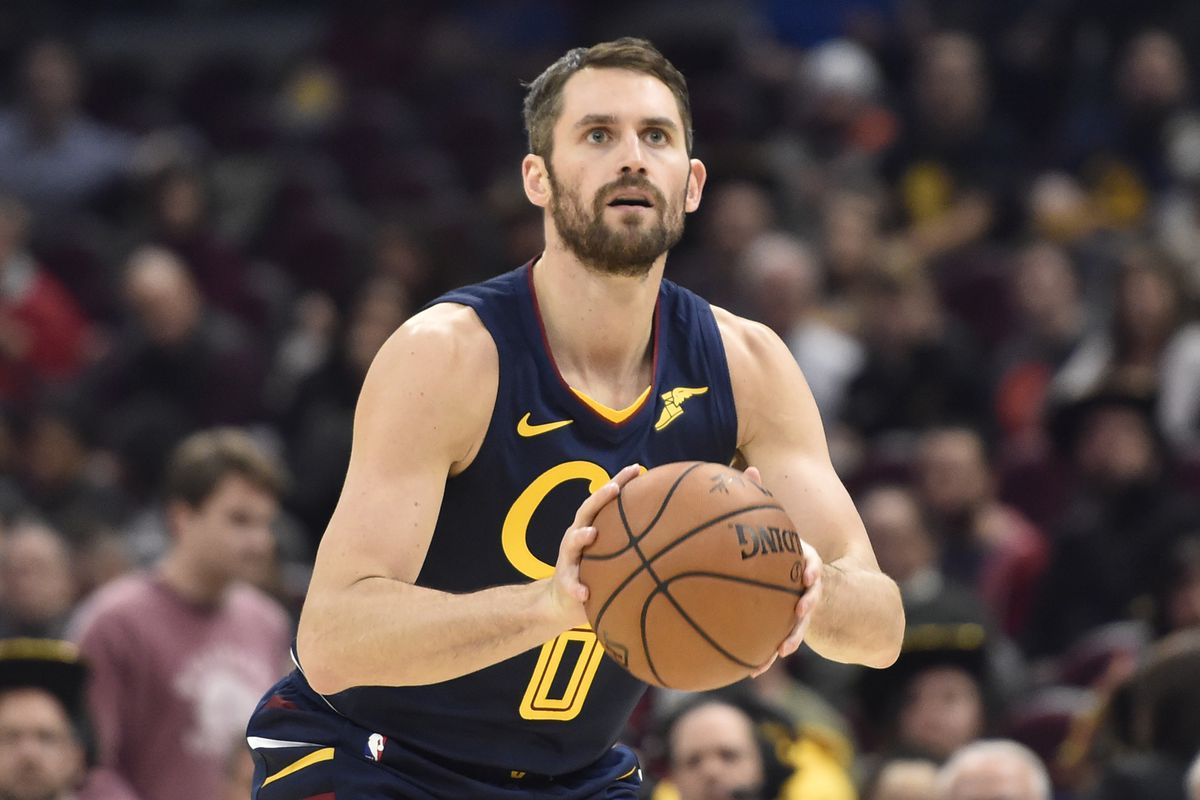 Cleveland Cavaliers forward Kevin Love looks to shoot in the third quarter against the Orlando Magic at Rocket Mortgage FieldHouse.