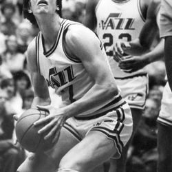 """""""Pistol Pete"""" Maravich was one of the Jazzmen making the transition from New Orleans to Salt Lake City."""