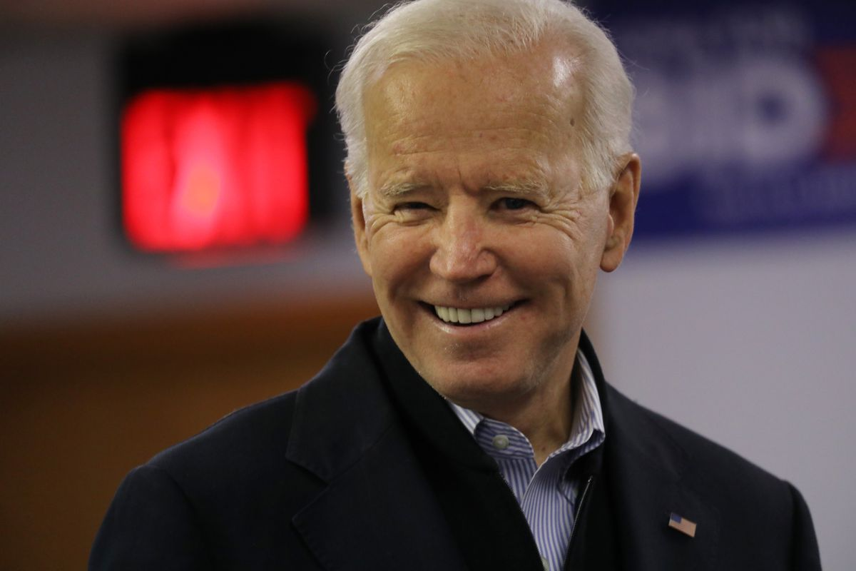 Joe Biden speaks to volunteers at state campaign headquarters on January 13, 2020 in Des Moines, Iowa.