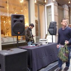 DJ setting up in between 3.1 Phillip Lim and Rag & Bone