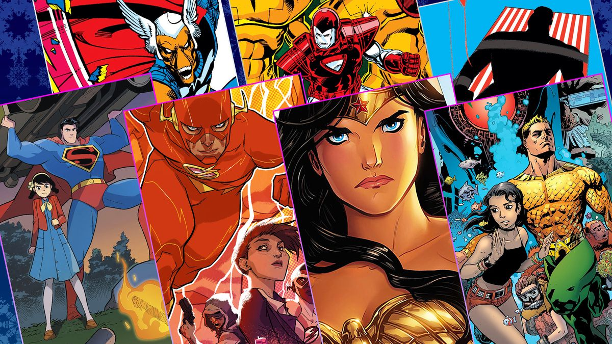 Graphic grid of seven different comic book covers