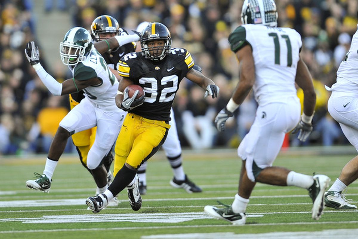 Adam Robinson, only one of a countless number of former Iowa running backs who have succumbed to AIRBHG. (Photo by David Purdy/Getty Images)