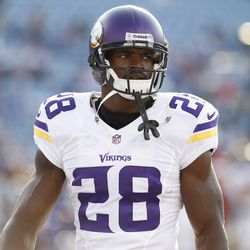 Aug 16, 2013; Orchard Park, NY, USA; Minnesota Vikings running back Adrian Peterson (28) before the game against the Buffalo Bills at Ralph Wilson Stadium.