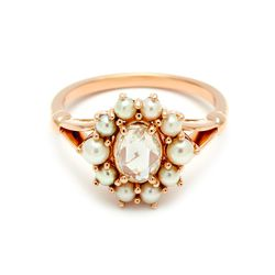 Celestine Ring in yellow gold, champagne diamond, and pearls
