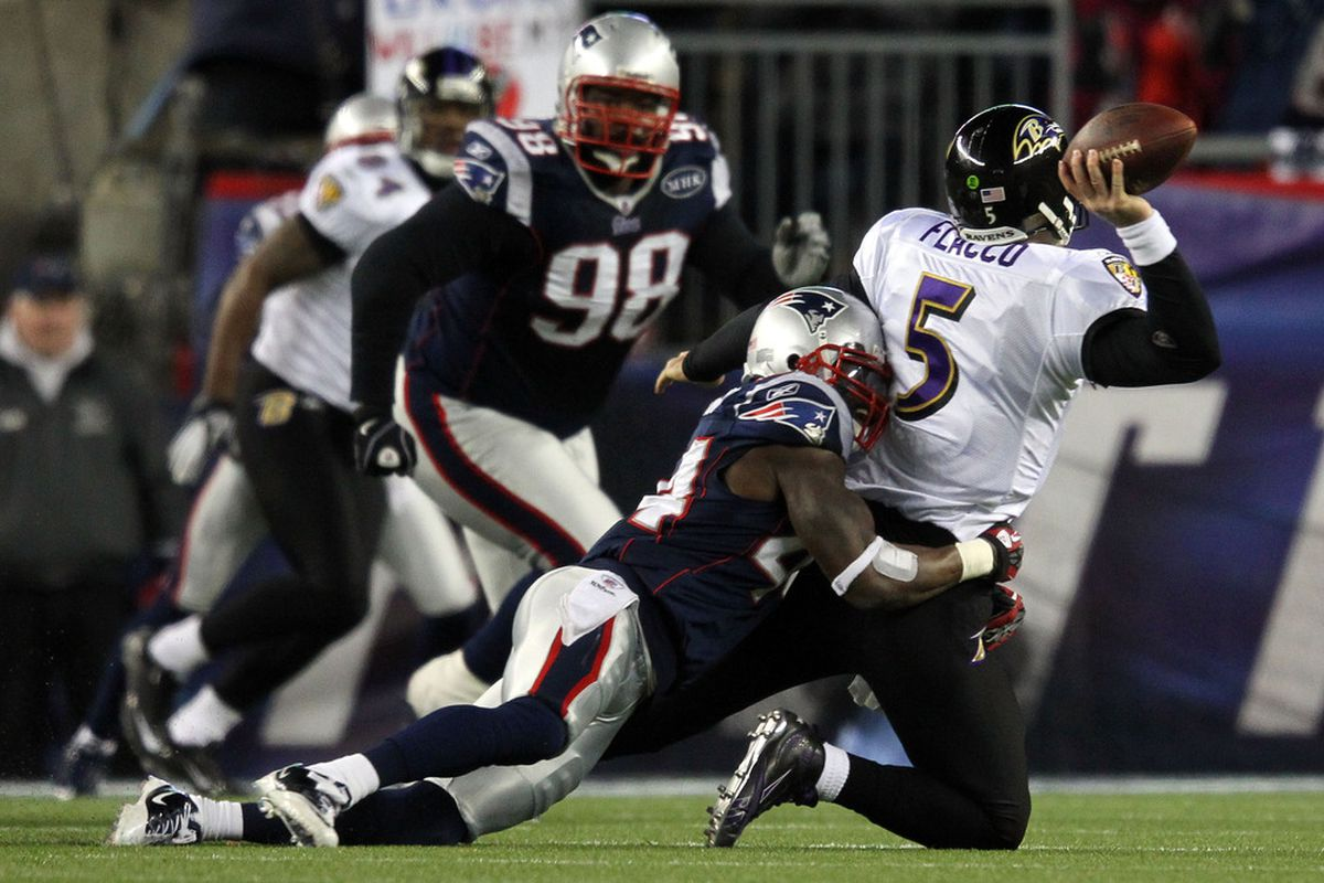 <em>James Ihedigbo catches some Flac during the AFC Championship game last season</em>.